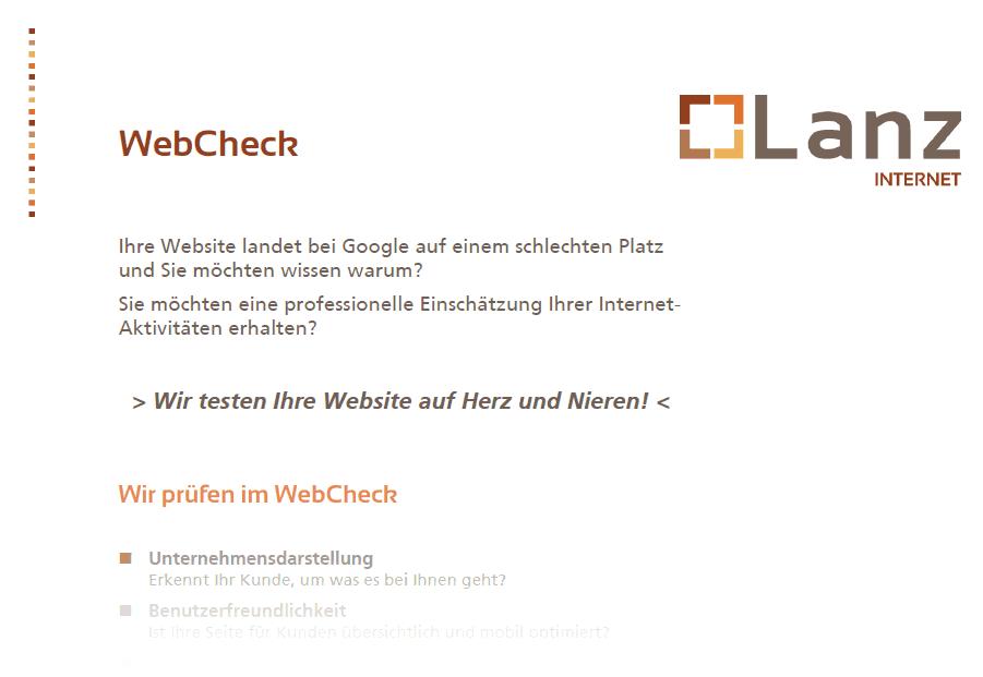 WebCheck SEO Suchmaschinenoptimierung Produktdatenblatt