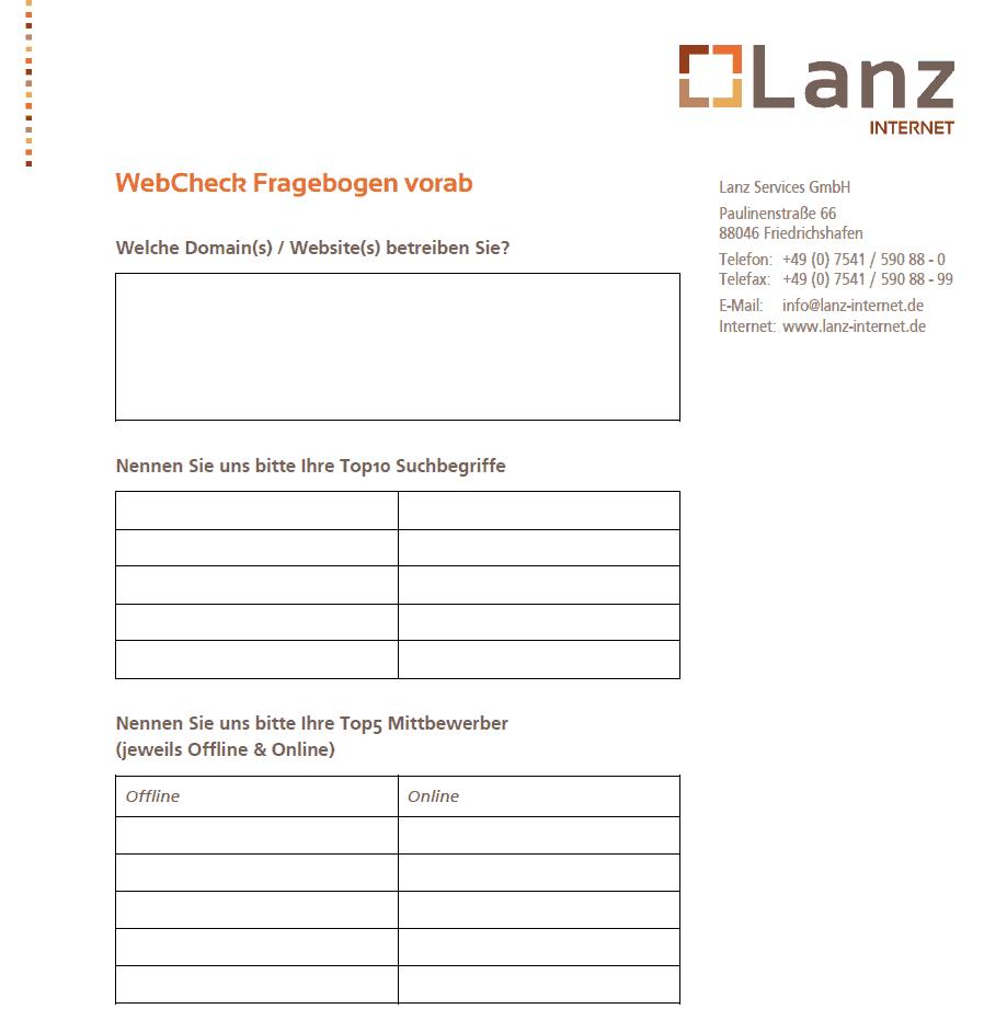 Lanz Services WebCheck Vorabfragebogen